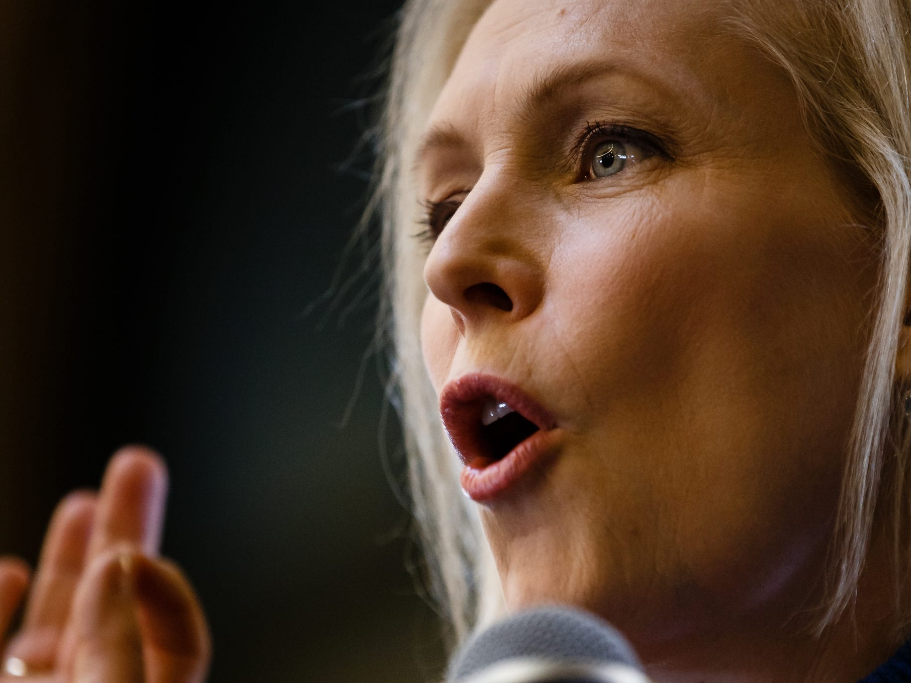 Sen. Kirsten Gillibrand of New York speaks at the Women's March before taking a walking tour of the East Village and talking to voters on Saturday, Jan. 19, 2019, in Des Moines.