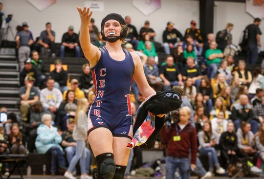 Davenport Central freshman Sydney Park beat Waukon's Regan Griffith for a state title at 126 pounds on Saturday, Jan. 19, 2019, during the first Iowa girls state wrestling tournament at Waverly-Shell Rock High School in Waverly.