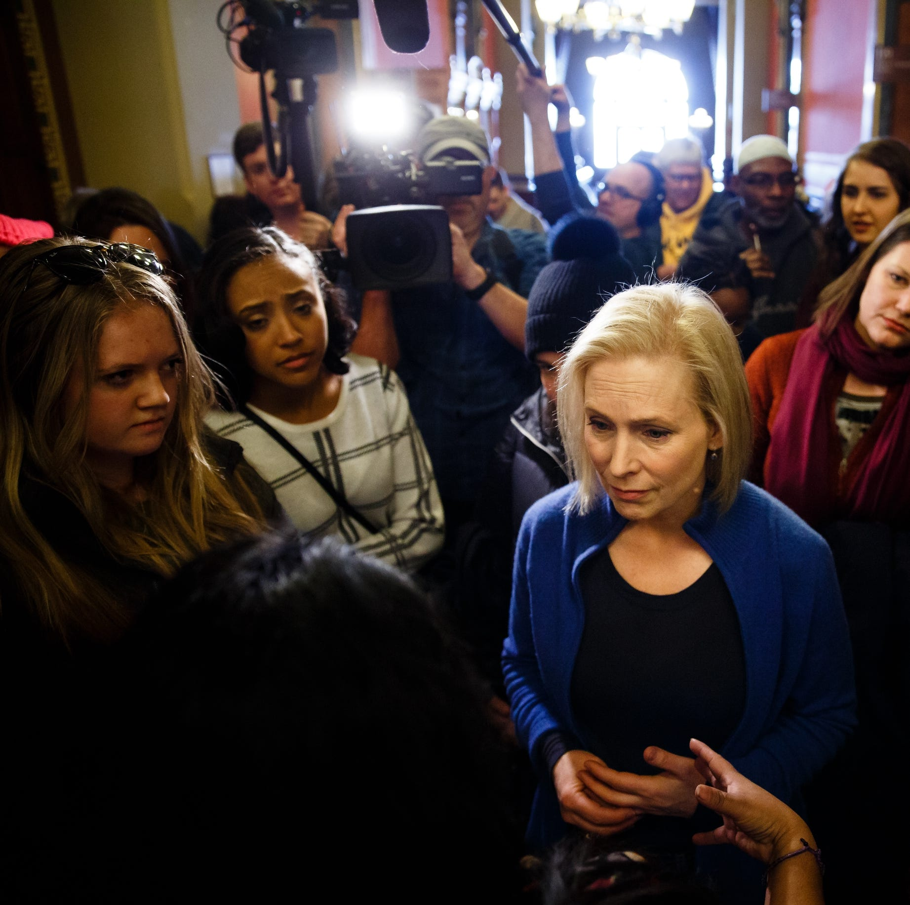 Sen. Kirsten Gillibrand of New York greets voters...