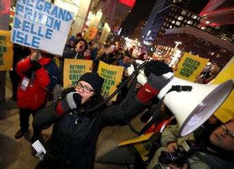 Democratic Congresswoman Rashida Tlaib joined protesters in front of Cobo Center as people arrived for the Detroit auto show's annual Charity Preview.