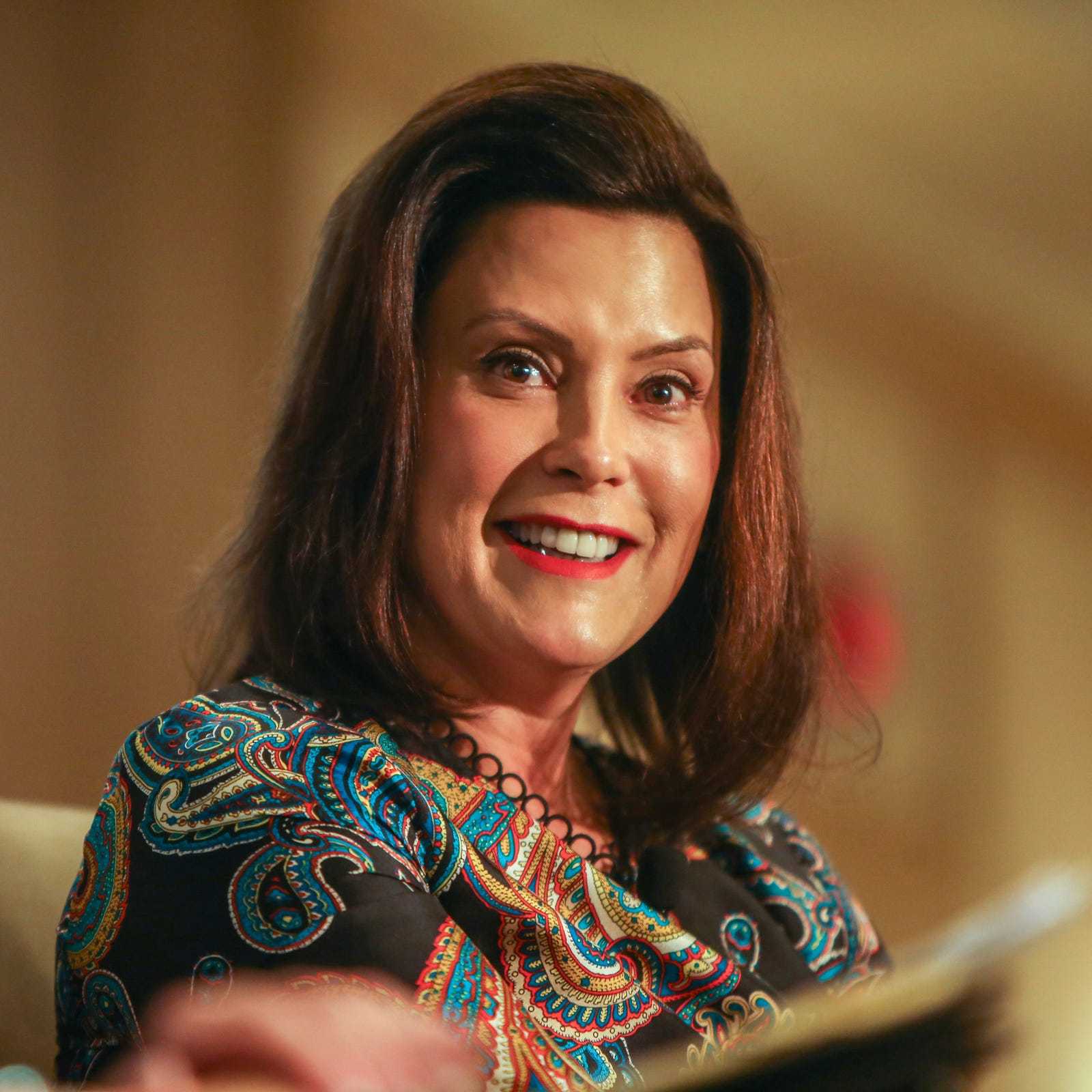 Michigan Governor Gretchen Whitmer speaks during the Detroit Free Press Breakfast Club Series sponsored by DTE Energy at the Townsend Hotel in Birmingham, Mich. on Friday, Jan. 18, 2019.