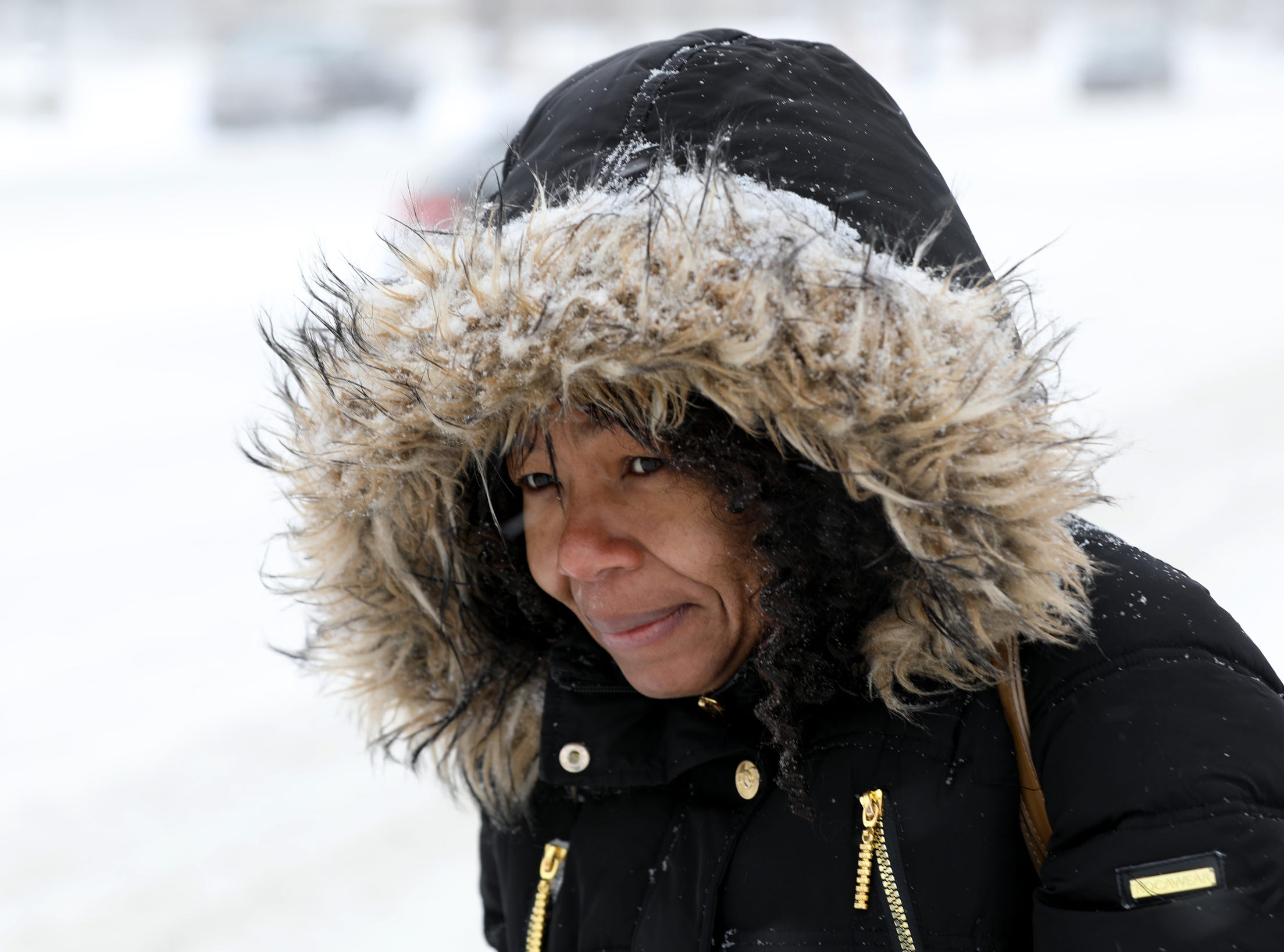 Patricia Brown, 41 of Detroit turns against the wind and blowing snow as she waits for the Woodward Avenue bus near Little Caesars Arena in Detroit on Saturday, January 19, 2019.