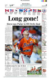 The Detroit Free Press sports front from the day after Bobby Abreu hit 41 homers in the Home Run Derby at Comerican Park in 2005.