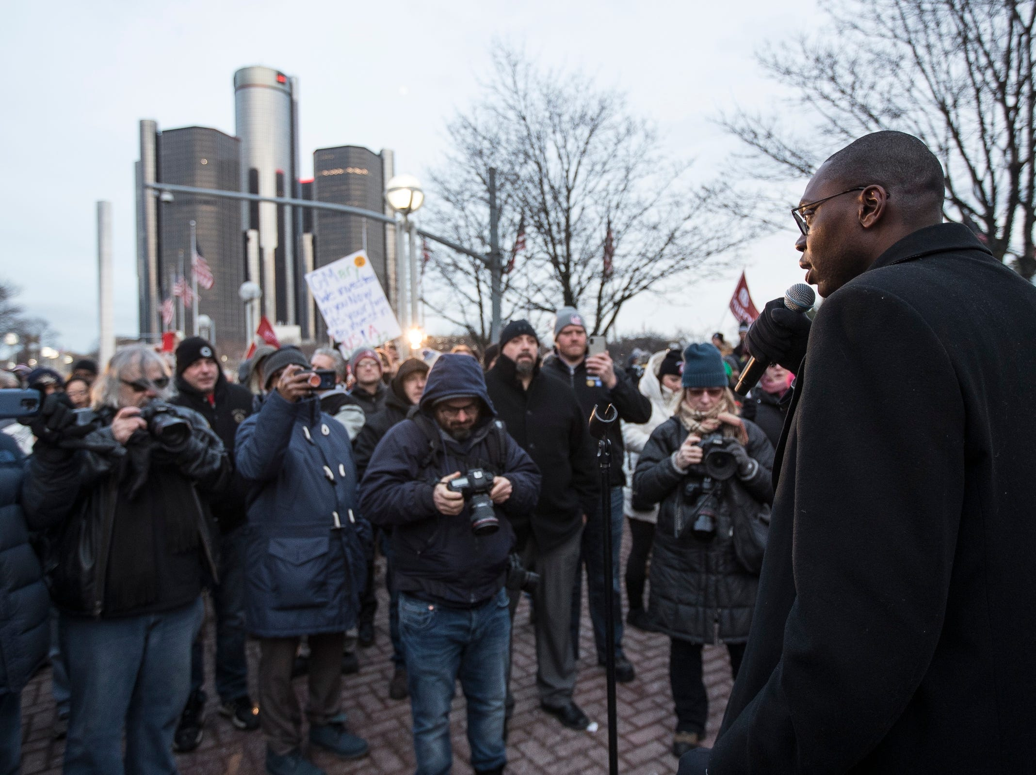 Lieutenant governor Garlin Gilchrist II speaks during the UAW pre-charity preview candlelight vigil at the Hart Plaza in Detroit on Friday, January 18, 2019.