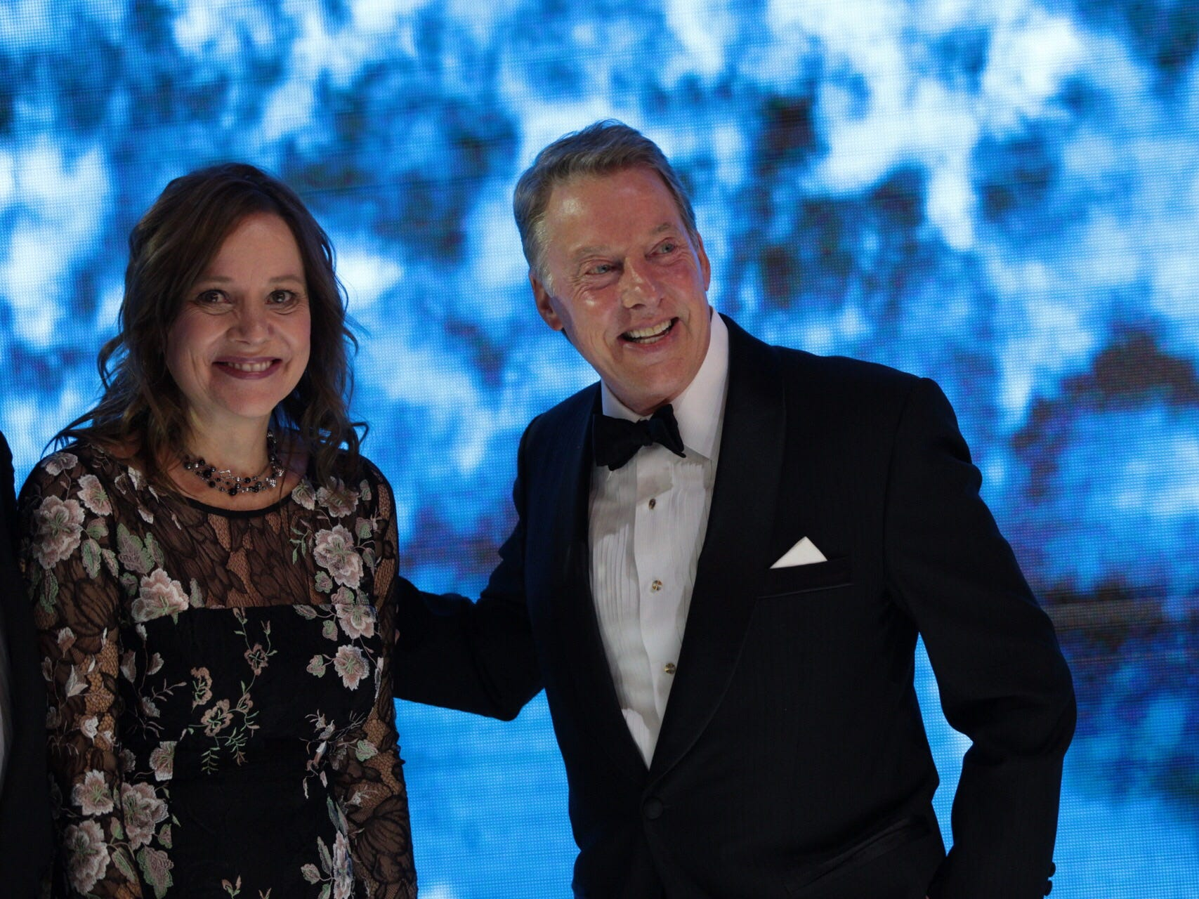 General Motors CEO Mary Barra and Ford Motor Co. Executive Chairman Bill Ford Jr. speak during the 2019 North American International Auto Show Charity Preview at Cobo Center in Detroit on Friday, January 18, 2019.