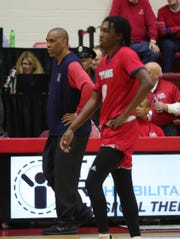 Detroit Mercy head coach Mike Davis on the bench during the second half against Oakland University, Saturday, Jan. 19, 2019 at Calihan Hall in Detroit.