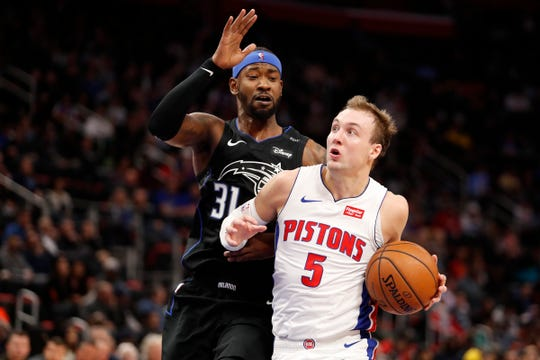 Luke Kennard drives against Orlando guard Terrence Ross at Little Caesars Arena, Jan. 16.