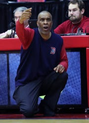 Detroit Mercy head coach Mike Davis during the second half against Oakland University, Saturday, Jan. 19, 2019 at Calihan Hall in Detroit.