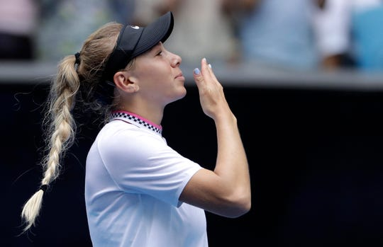 United States' Amanda Anisimova celebrates after defeating Aryna Sabalenka of Belarus during their third round match.