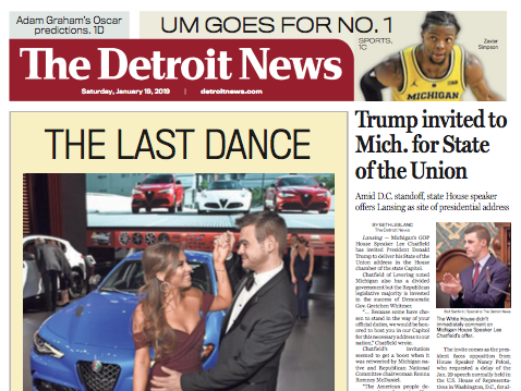 The front page of The Detroit News on Saturday, January 19, 2019.