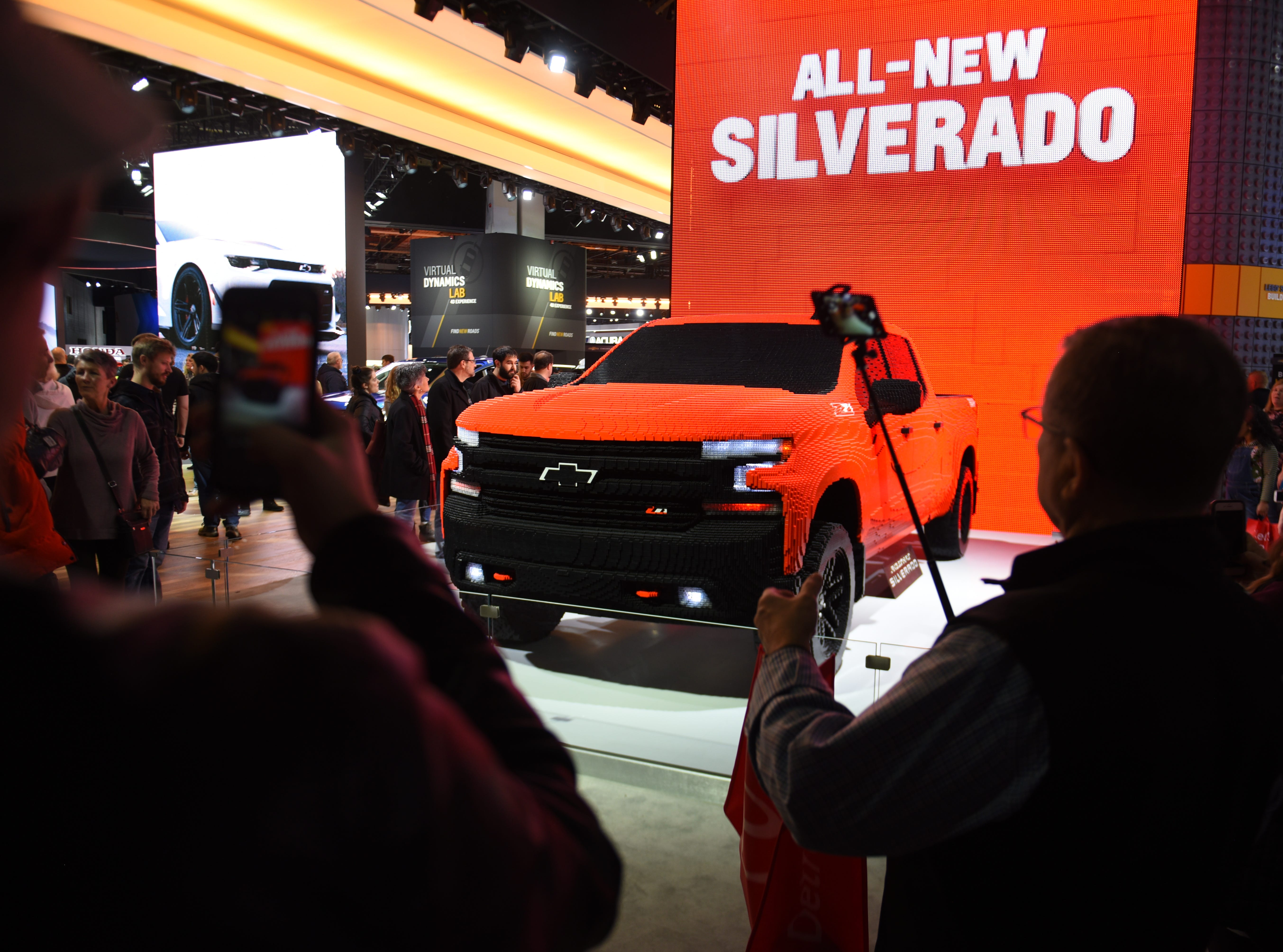 A life-sized Lego Chevrolet Silverado is on display at the 2019 North American International Auto Show