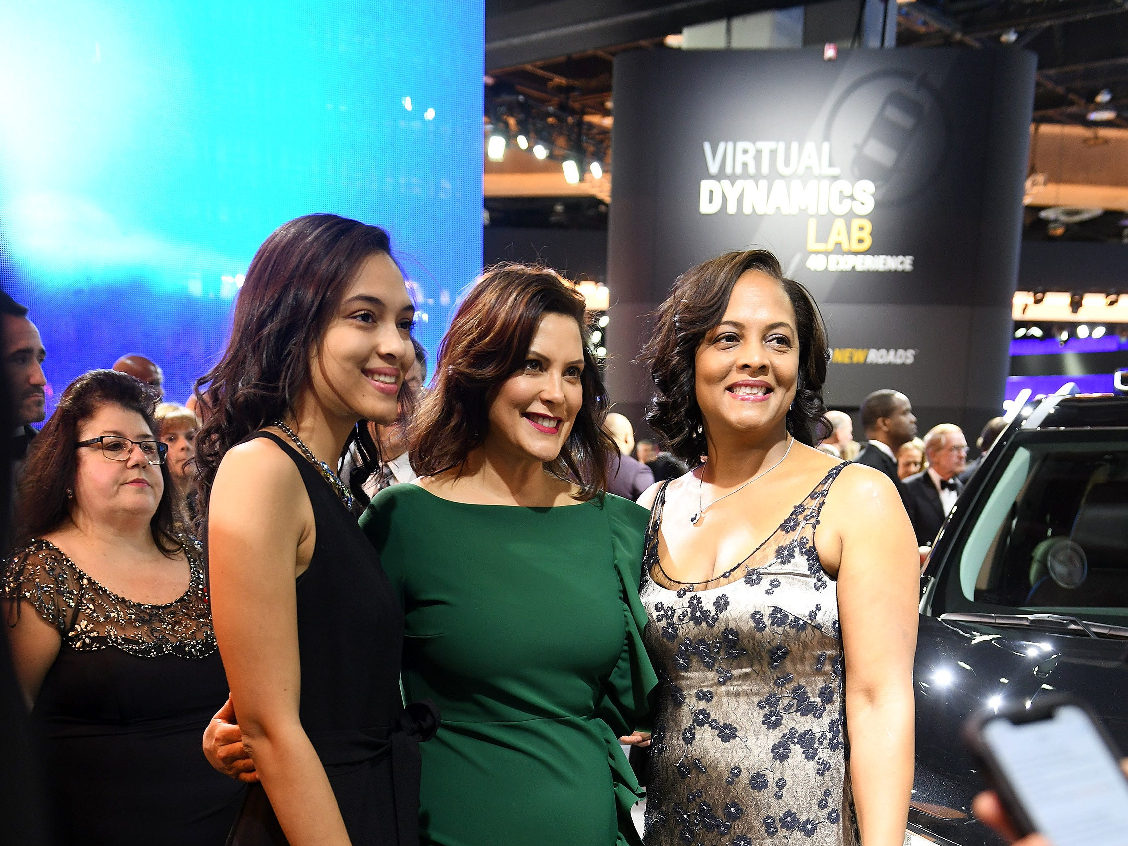 Gov. Gretchen Whitmer is photographed with Yolanda  Bates, right, and her daughter, Brooklynne Bates, both of Northville, at the Charity Preview gala.