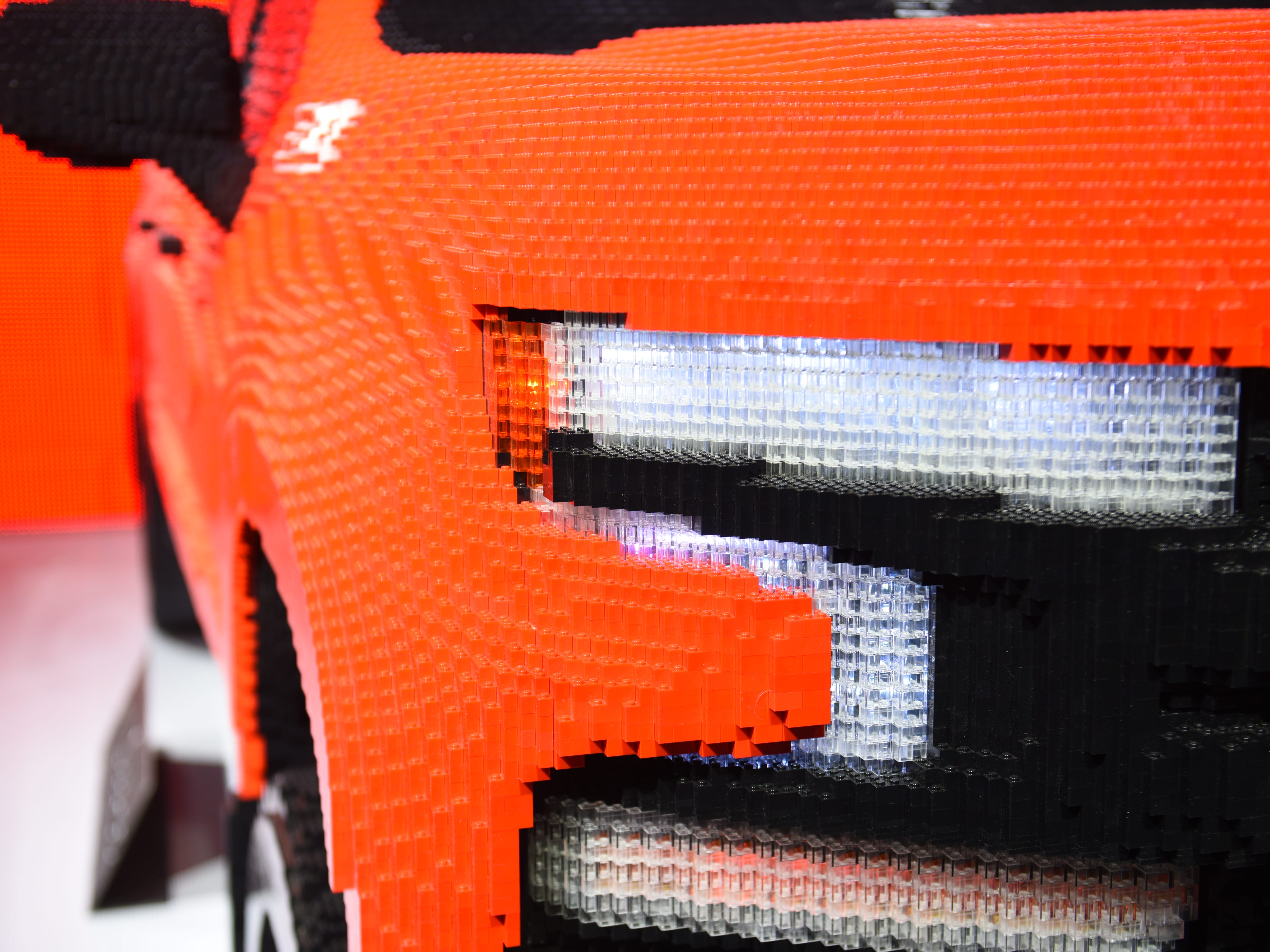 A life-sized Lego Chevrolet Silverado show the details of the lego creation