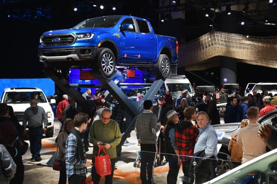 The All-New Ford Ranger is surrounded at Cobo Center.
