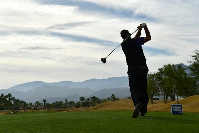 Phil Mickelson of the United States plays a shot on the second tee during the second round of the Desert Classic.