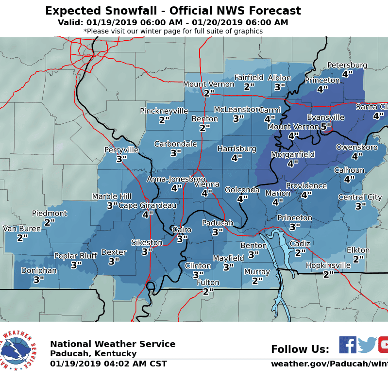 Evansville/Henderson-area expected to get 3-6 inches of snow, winter storm warning issued