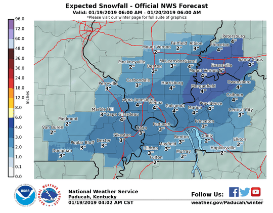 Expected snowfall for the Tri-State from the National Weather Service.
