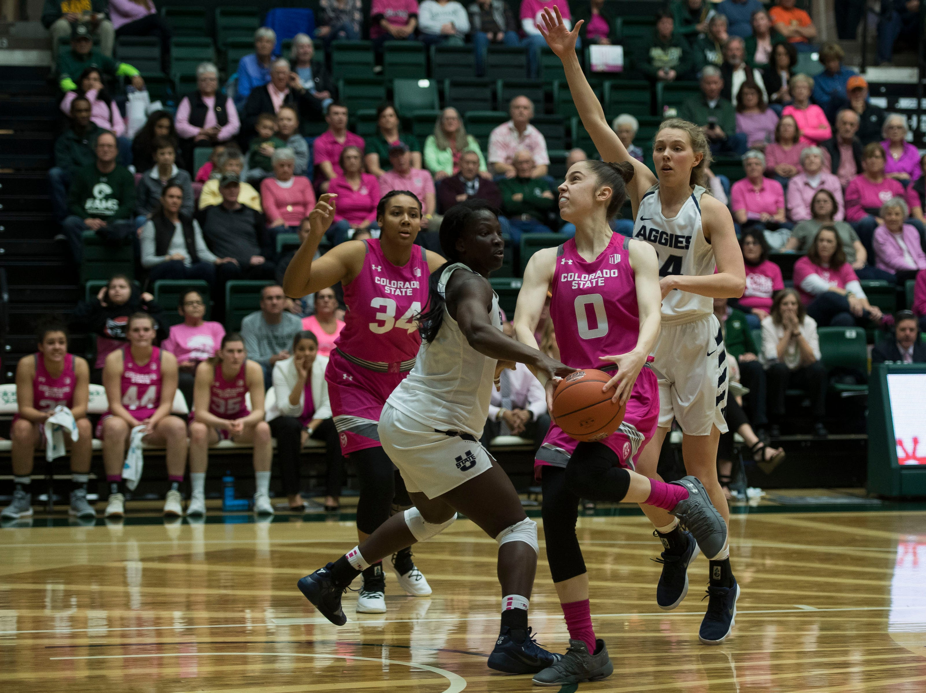 Colorado State University freshman forward Taylor Mole (0) has the ball knocked out by Utah State junior forward Marlene Aniambossou (24) on Saturday, Jan. 19, 2019, at Moby Arena in Fort Collins, Colo.