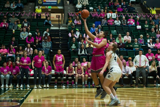 Guard Myanne Hamm, shown shooting a layup in a Jan. 19 game against Utah State, and the CSU women's basketball team will play a home game at 7 p.m. Wednesday at Moby Arena against San Jose State.