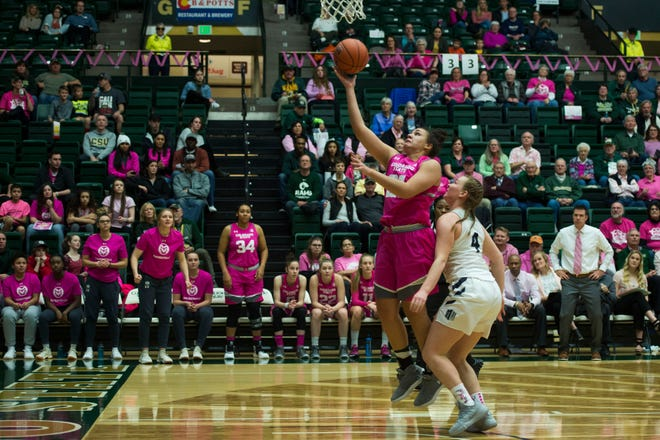 Myanne Hamm, shown shooting a layup in a Jan. 19 game against Utah State at Moby Arena, and her teammates on the CSU women's basketball team will wrap up the regular season with road games Monday night at Utah State and Thursday at UNLV.