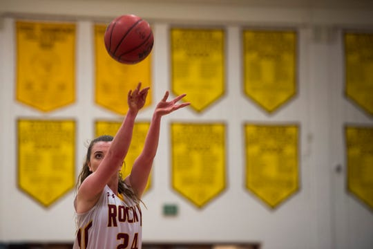Rocky Mountain High School senior Mikayla Eccher (24) attempts a free-throw during a game against Fort Collins High School on Friday, Jan. 18, 2019, at Rocky Mountain High School in Fort Collins, Colo.