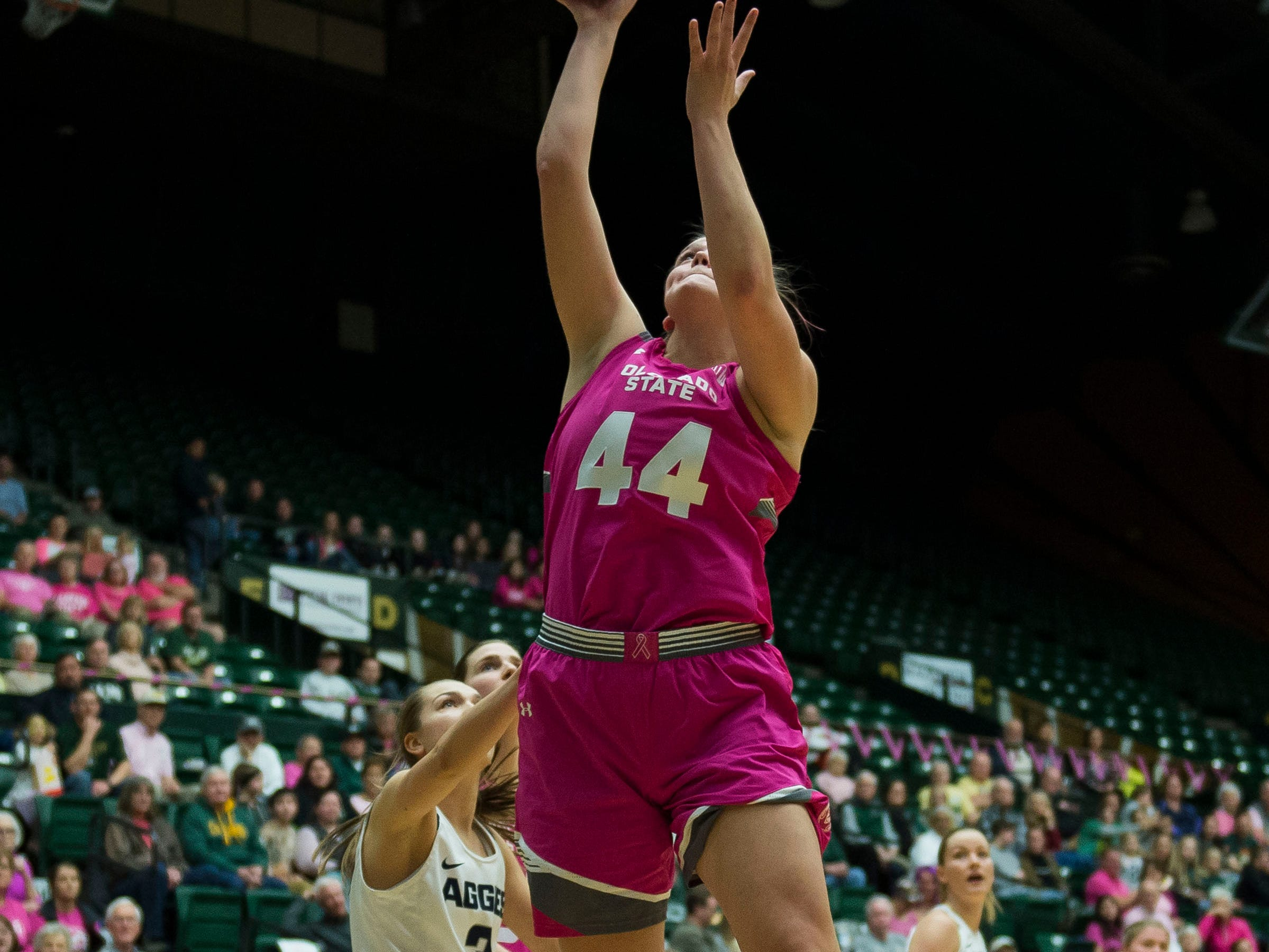 Colorado State University senior forward Tatum Neubert (44) puts a shot up during a game against Utah State on Saturday, Jan. 19, 2019, at Moby Arena in Fort Collins, Colo.