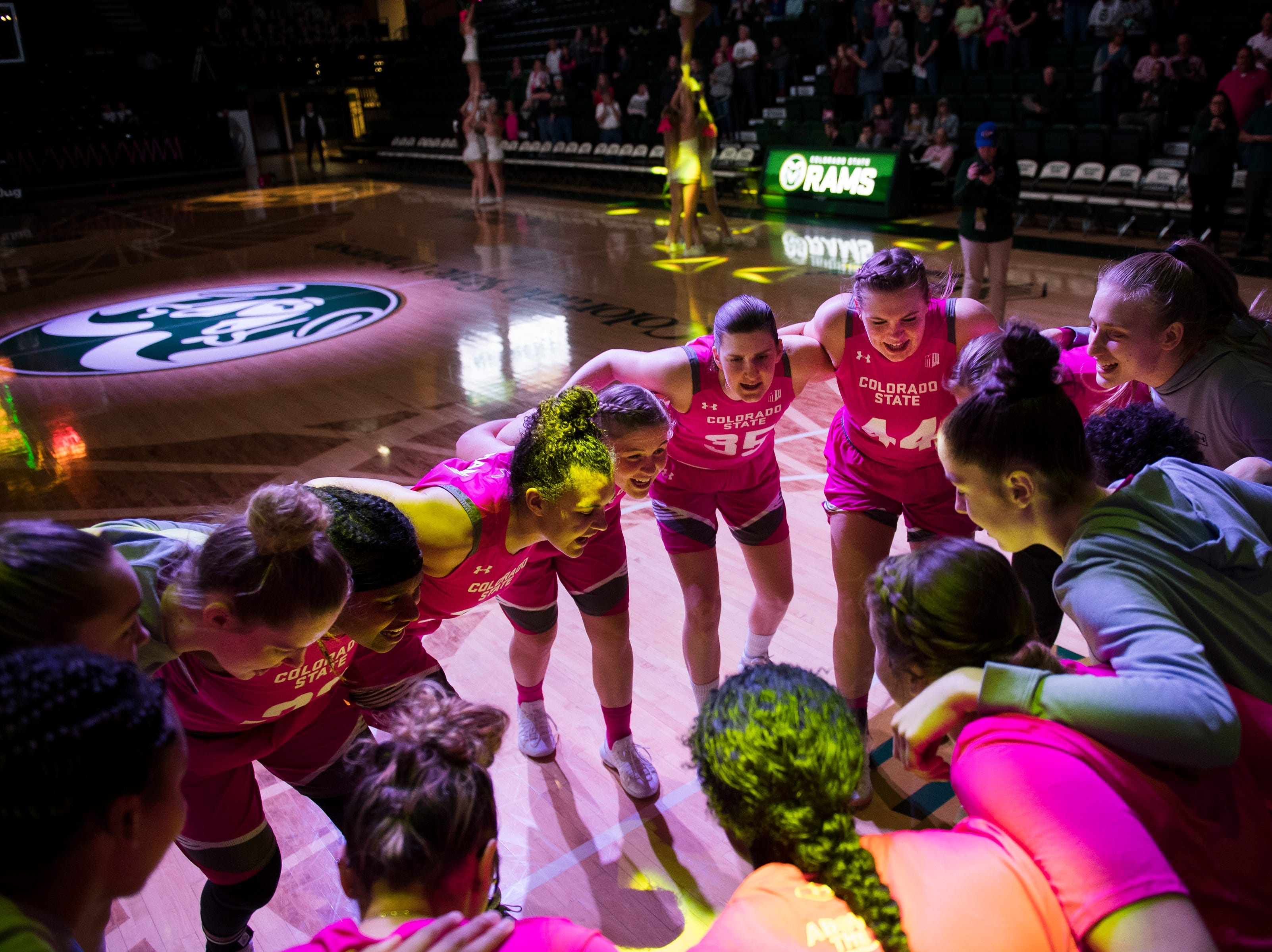 The Colorado State University women's basketball team huddles up before taking the court in a game against Utah State on Saturday, Jan. 19, 2019, at Moby Arena in Fort Collins, Colo.