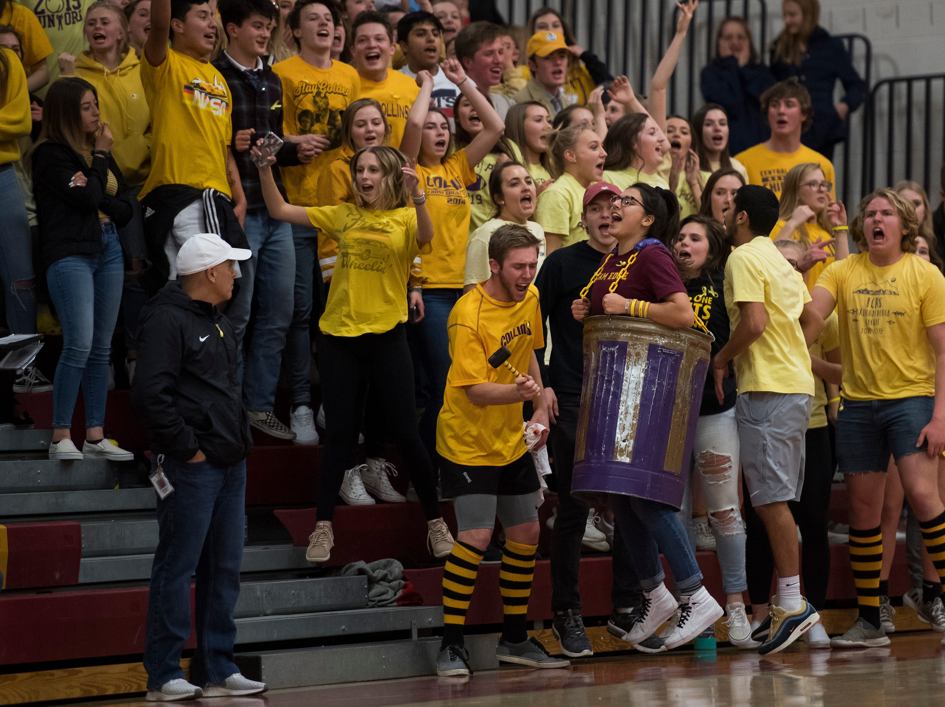 The Fort Collins High School student section chants during a game against rival Rocky Mountain High School on Friday, Jan. 18, 2019, at Rocky Mountain High School in Fort Collins, Colo.