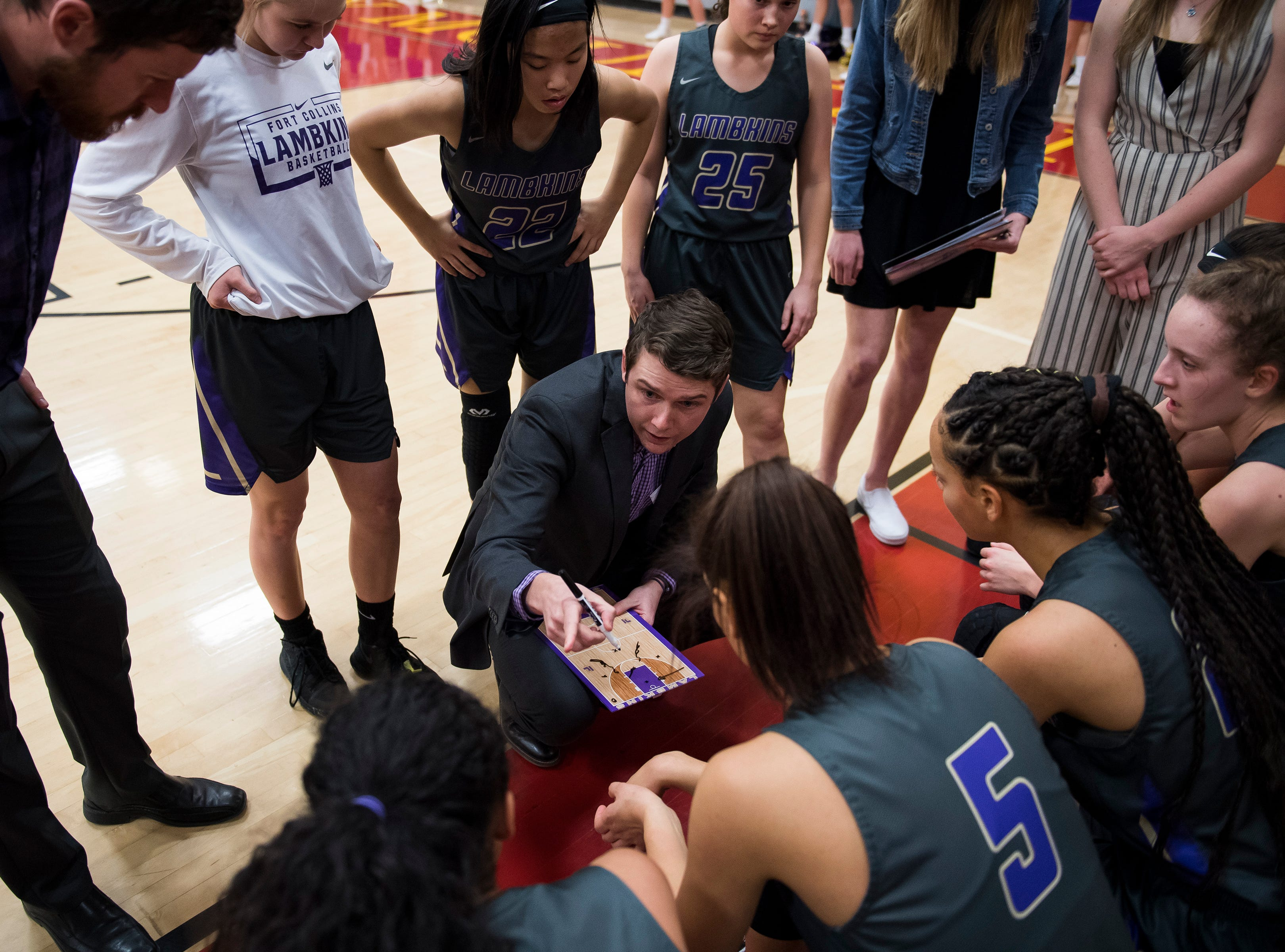 Fort Collins High School head girls basketball coach Matt Hower talks to his players during a game against Rocky Mountain High School on Friday, Jan. 18, 2019, at Rocky Mountain High School in Fort Collins, Colo.