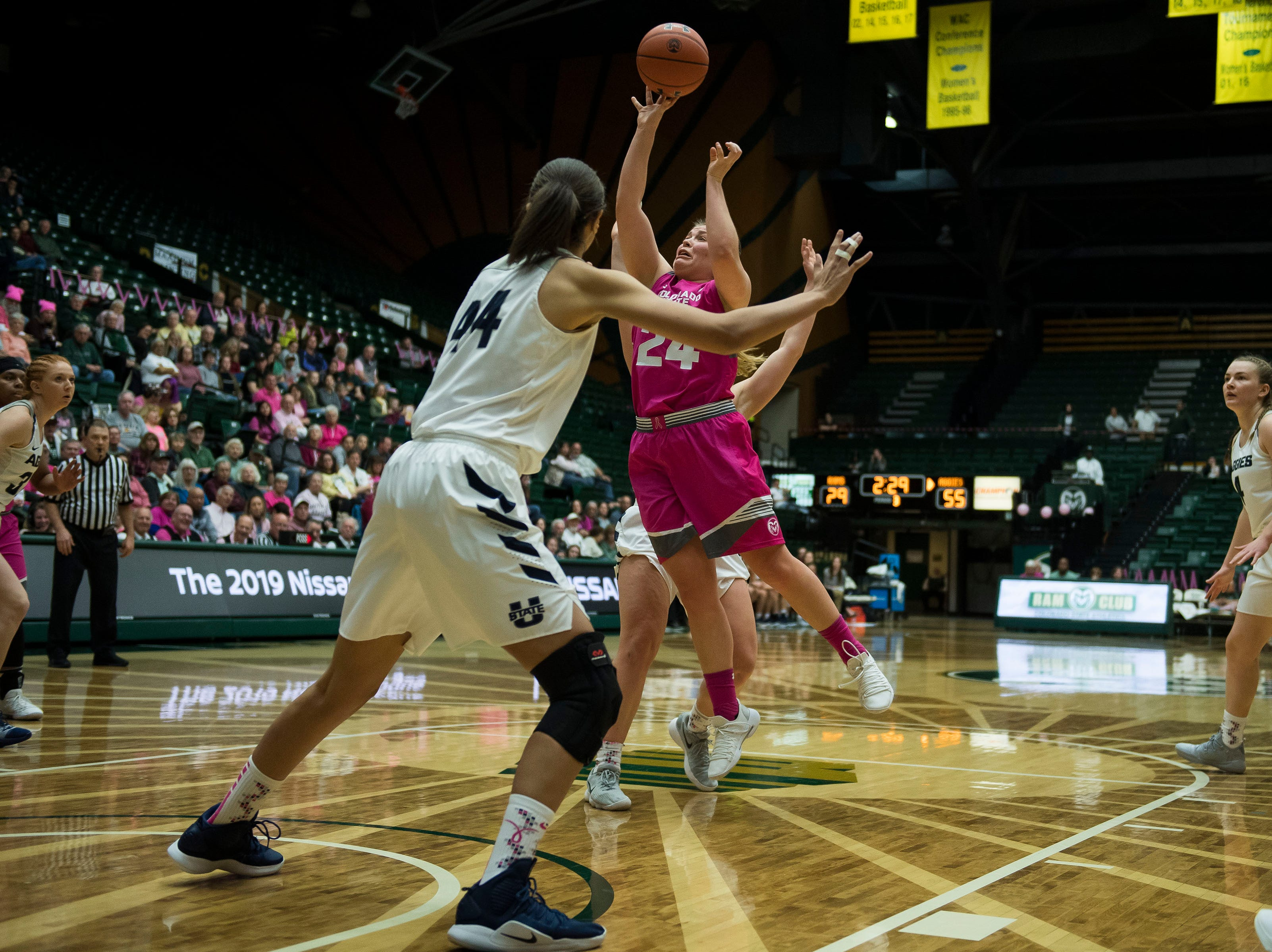Colorado State University junior guard Mollie Mounsey (24) goes up for a layup during a game against Utah State on Saturday, Jan. 19, 2019, at Moby Arena in Fort Collins, Colo.