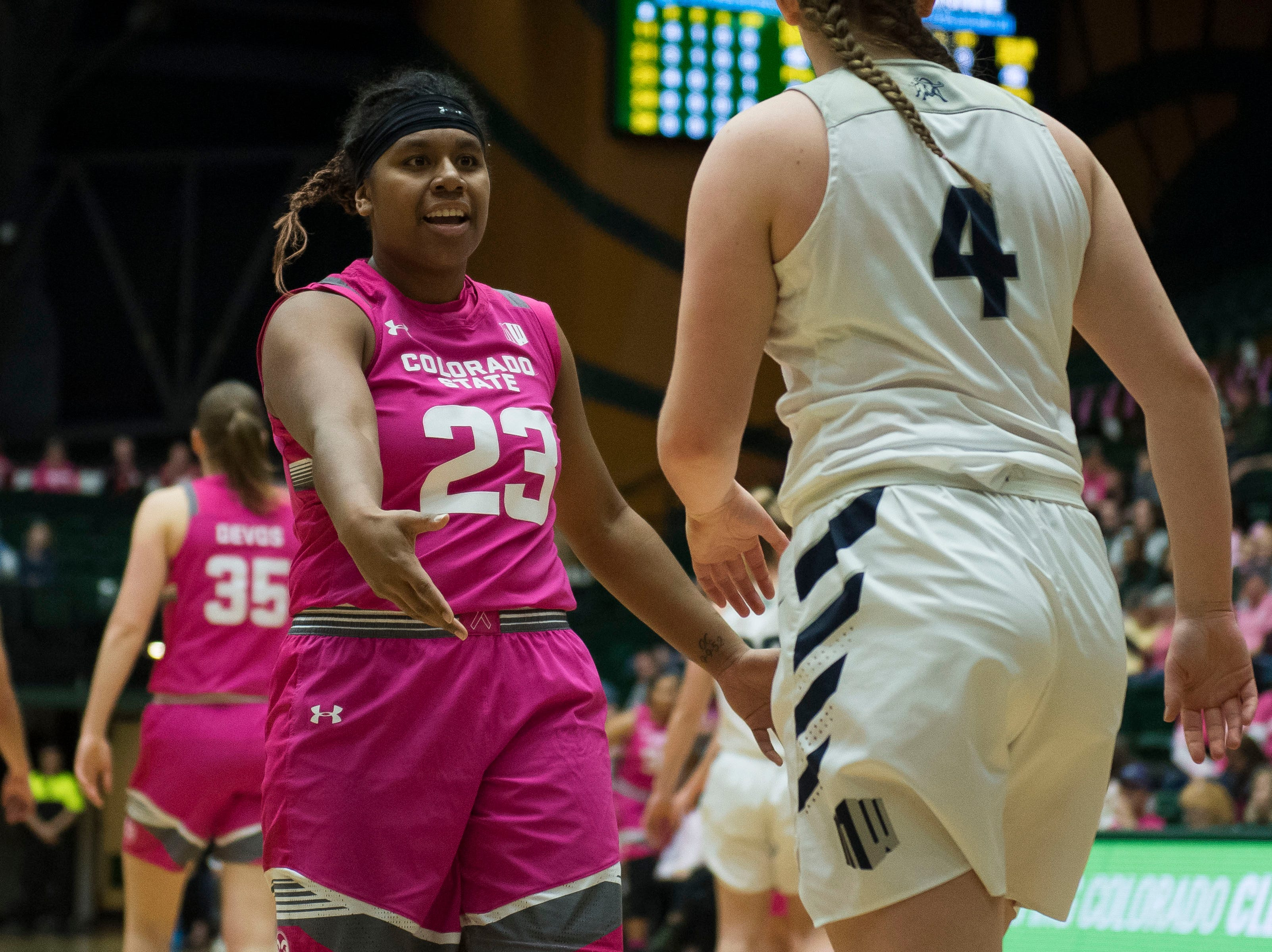 Colorado State University sophomore guard Grace Colaivalu (23) argues with a foul call during  game against Utah State on Saturday, Jan. 19, 2019, at Moby Arena in Fort Collins, Colo.