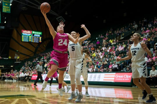 Guard Mollie Mounsey, the second-leading scorer on CSU's women's basketball team, drives past Utah State defenders for a layup during a Jan. 19, 2019, game at Moby Arena. Mounsey is transferring to Emporia State, an NCAA Division II school in Kansas, for her senior season.