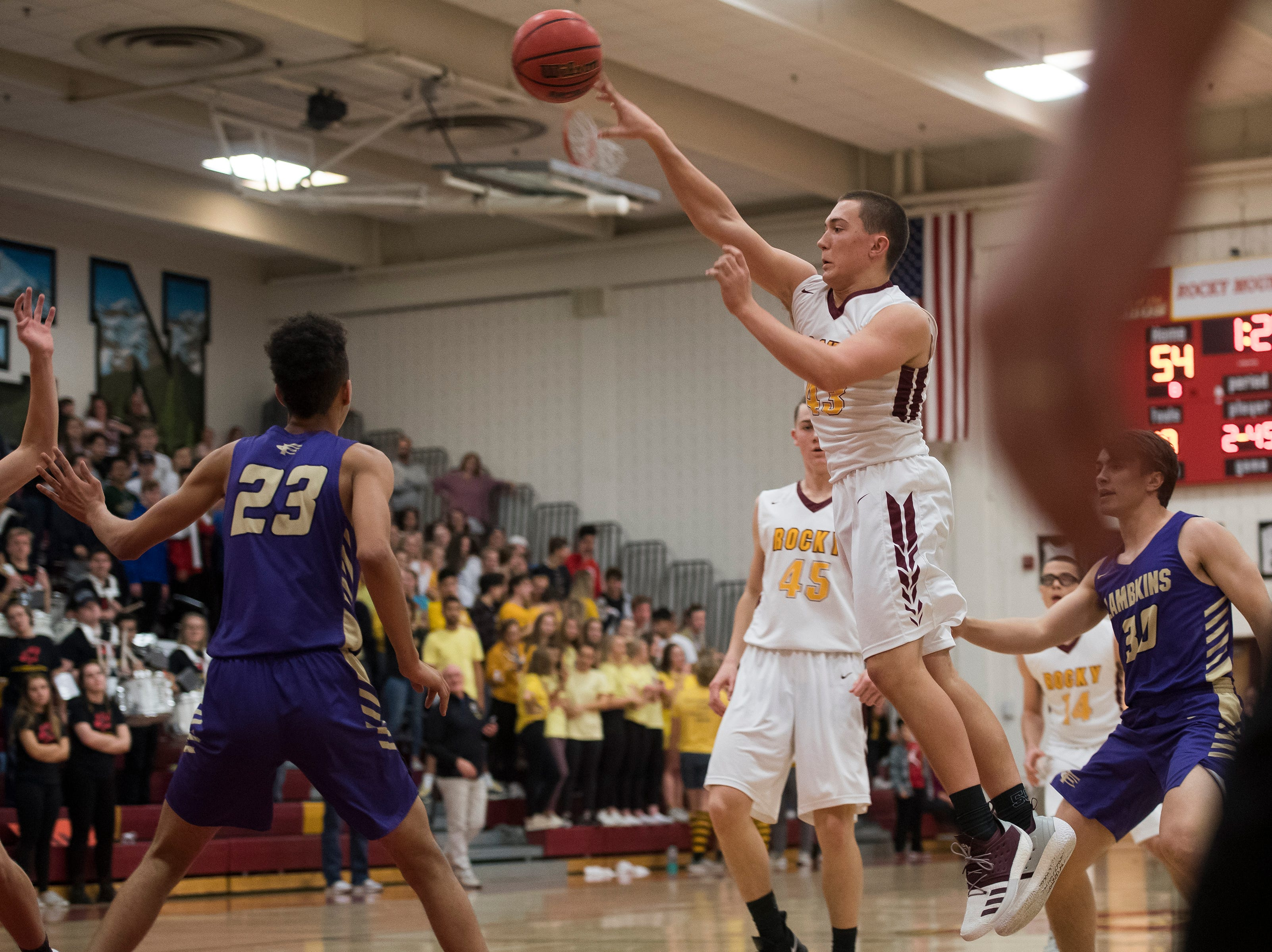 Rocky Mountain High School junior Pete Krohn (43) passes during a game against Fort Collins High School on Friday, Jan. 18, 2019, at Rocky Mountain High School in Fort Collins, Colo.