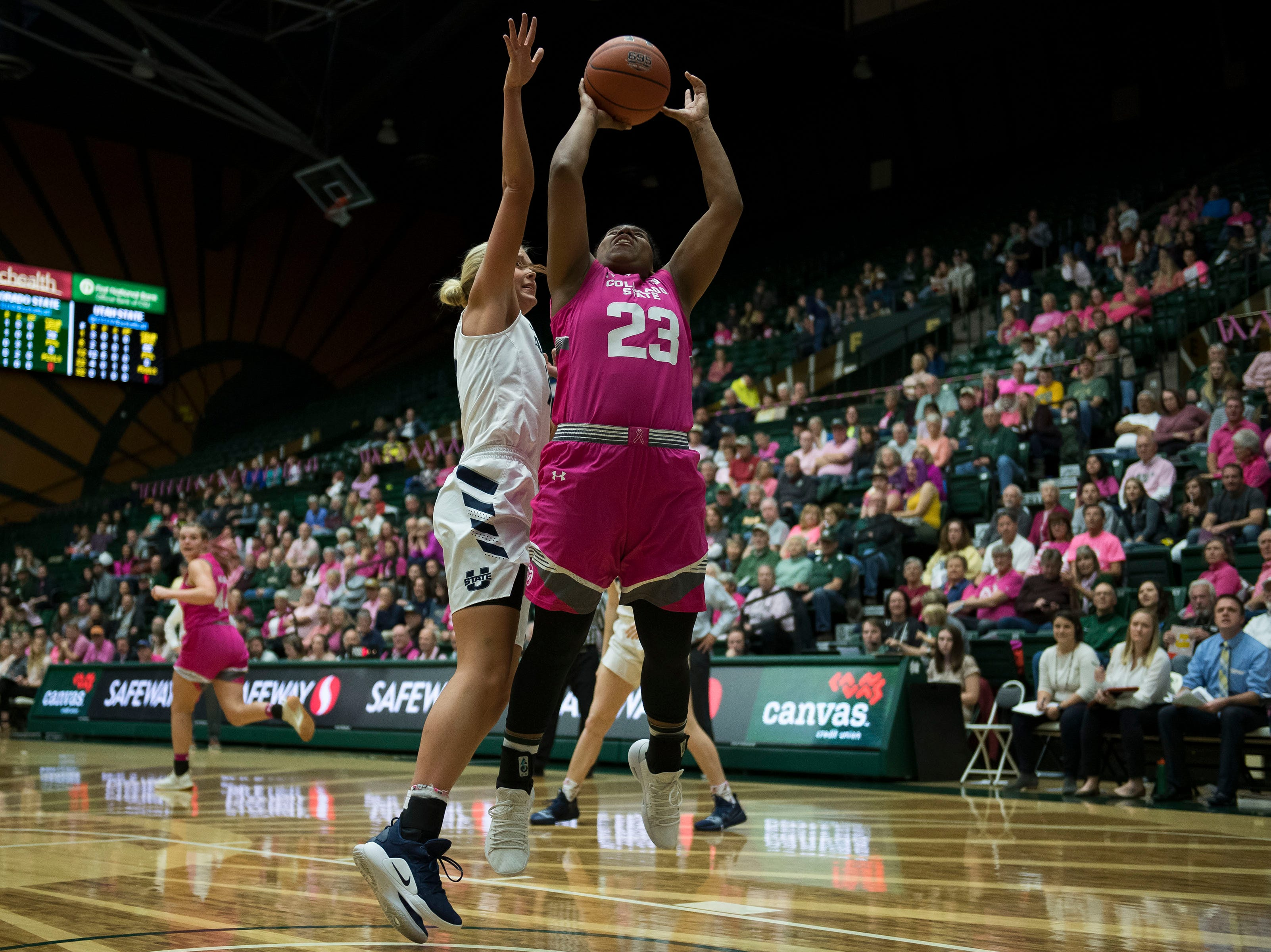 Colorado State University sophomore guard Grace Colaivalu (23) comes down with a rebound during  game against Utah State on Saturday, Jan. 19, 2019, at Moby Arena in Fort Collins, Colo.