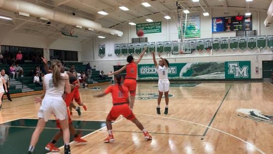 Fort Myers Janay Outten takes a jumper from the wing in the first quarter of the Green Wave's 62-43 win over Dunbar on Friday at the Wave Cave.