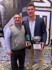 Future Clemson linebacker Keith Maguire and coach Dave Gueriera after Maguire was named Maxwell Club Pennsylvania Player of the Year.