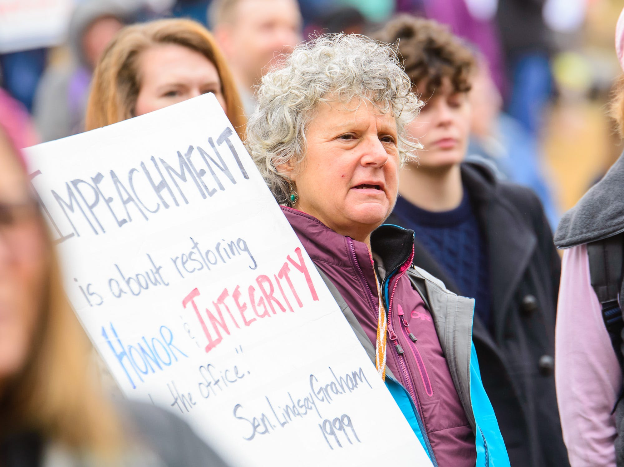 People gather in downtown Greenville for the 2019 Greenville Women's March held in Falls Park on Saturday, January 19, 2019.
