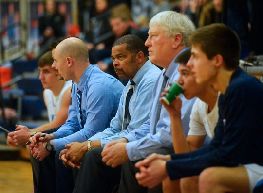 Longtime Great Falls educator and basketball coach Ken Maddox, second from left during last Friday's Bison game against Billings Senior, has for decades been a fixture in the Great Falls Pubic School system. For years, he's taught a Black History unit to elementary and middle school-aged youths.