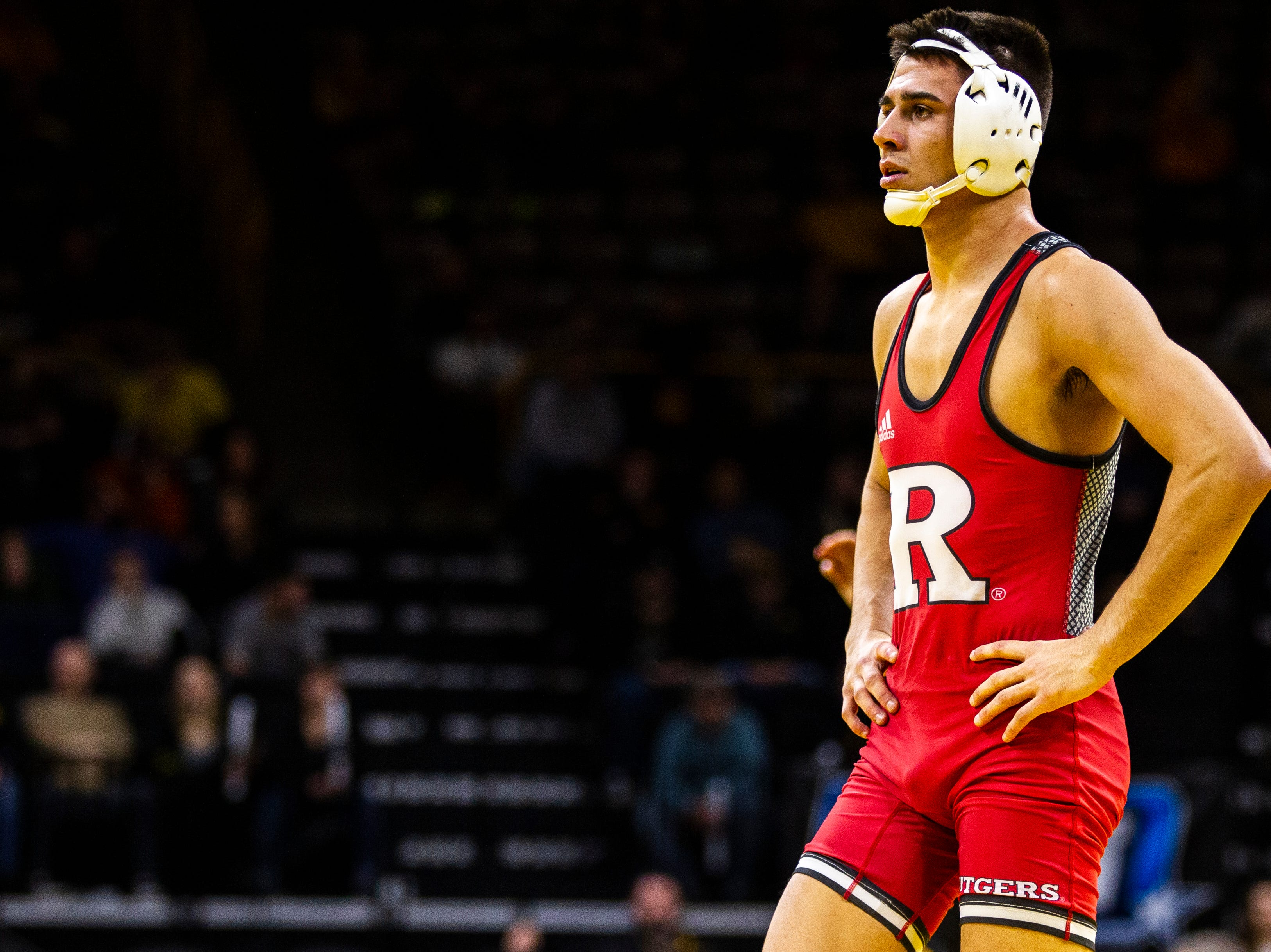 Rutgers' John Van Brill is seen at 157 during a NCAA Big Ten Conference wrestling dual on Friday, Jan. 18, 2019, at Carver-Hawkeye Arena in Iowa City, Iowa.