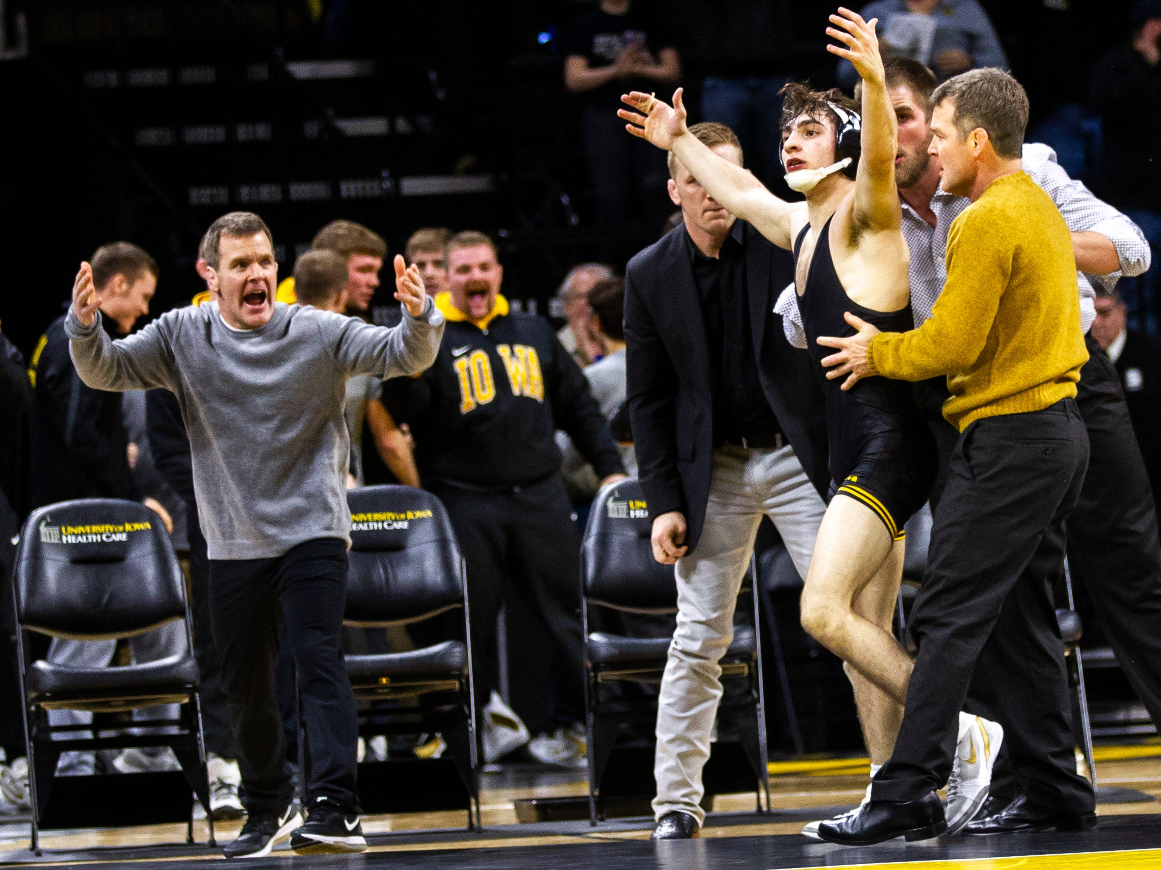 Iowa's Austin DeSanto celebrates after scoring a decision over Rutgers' Nick Suriano at 133 during a NCAA Big Ten Conference wrestling dual on Friday, Jan. 18, 2019, at Carver-Hawkeye Arena in Iowa City, Iowa.