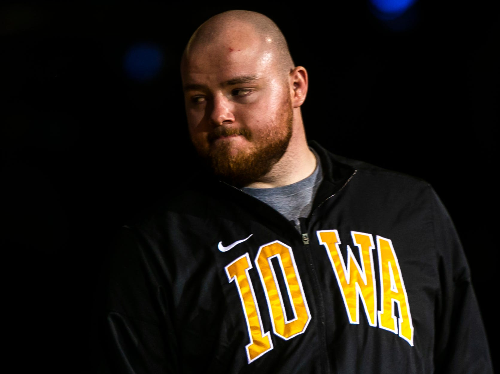 Iowa's Sam Stoll is introduced during a NCAA Big Ten Conference wrestling dual on Friday, Jan. 18, 2019, at Carver-Hawkeye Arena in Iowa City, Iowa.