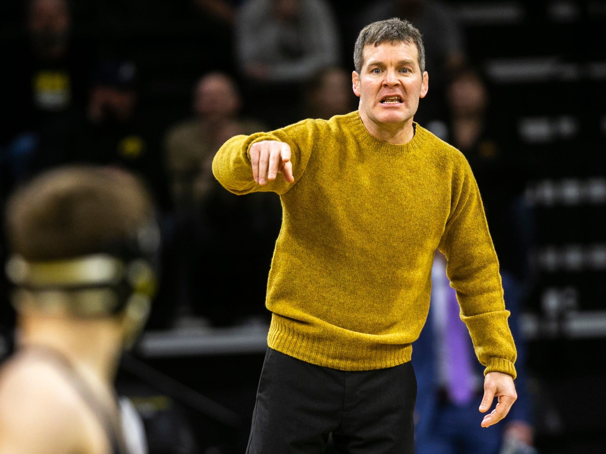Iowa head coach Tom Brands calls out to Austin DeSanto during a NCAA Big Ten Conference wrestling dual on Friday, Jan. 18, 2019, at Carver-Hawkeye Arena in Iowa City, Iowa.