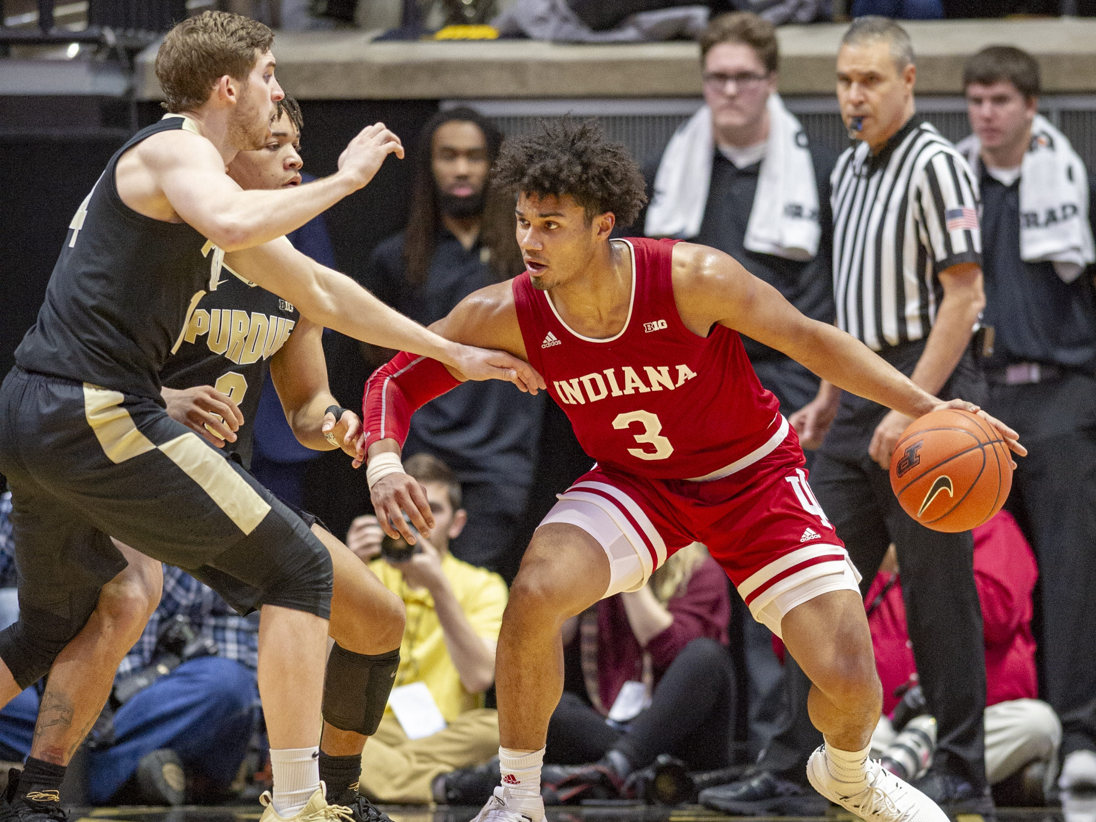 Indiana Hoosiers forward Justin Smith (3) looks for an opportunity to make a move during the second against Purdue.