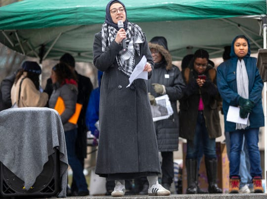 Umaymah Mohammad, who spoke about a variety of issues pertaining to the direction she and other minority women feel the movement should be headed, talks with about two hundred people during the event, Indianapolis, Saturday, Jan. 19, 2019.