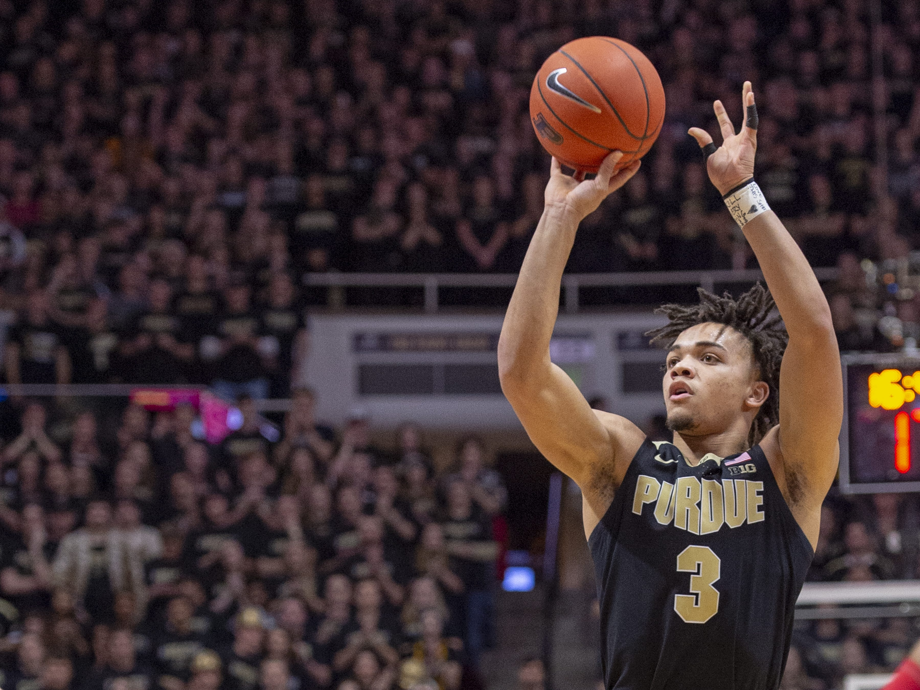 Purdue Boilermakers guard Carsen Edwards (3) puts up a shot during the second half against Indiana.