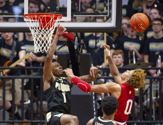 Indiana Hoosiers guard Romeo Langford (0) is stopped by Purdue Boilermakers forward Aaron Wheeler (1) during the second half of action. Purdue hosted Indiana in a BigTen men's basketball matchup, Saturday, Jan. 19, 2019. Purdue won 70-55.
