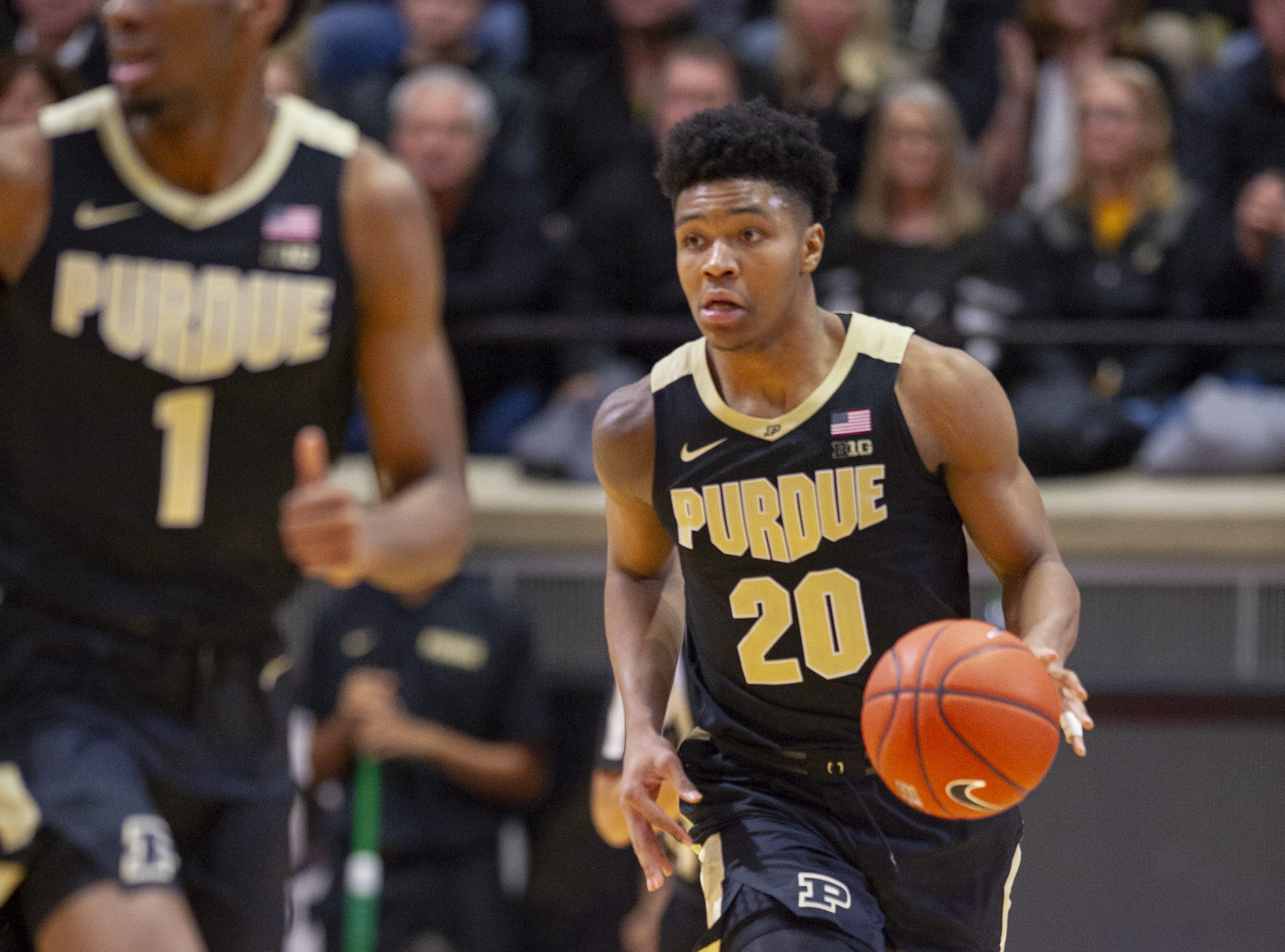 Purdue Boilermakers guard Nojel Eastern (20) brings the ball up court during the second half of action. Purdue hosted Indiana in a BigTen men's basketball matchup, Saturday, Jan. 19, 2019. Purdue won 70-55.