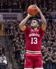 Indiana Hoosiers forward Juwan Morgan (13) puts up a shot during the first half against Purdue