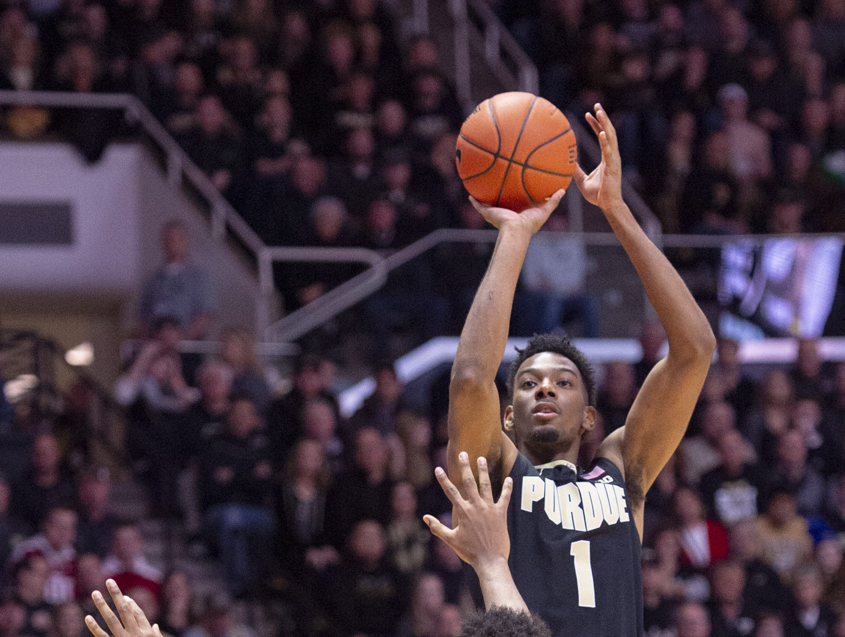 Purdue Boilermakers forward Aaron Wheeler (1) puts pu a shot during the second half of action. Purdue hosted Indiana in a BigTen men's basketball matchup, Saturday, Jan. 19, 2019. Purdue won 70-55.