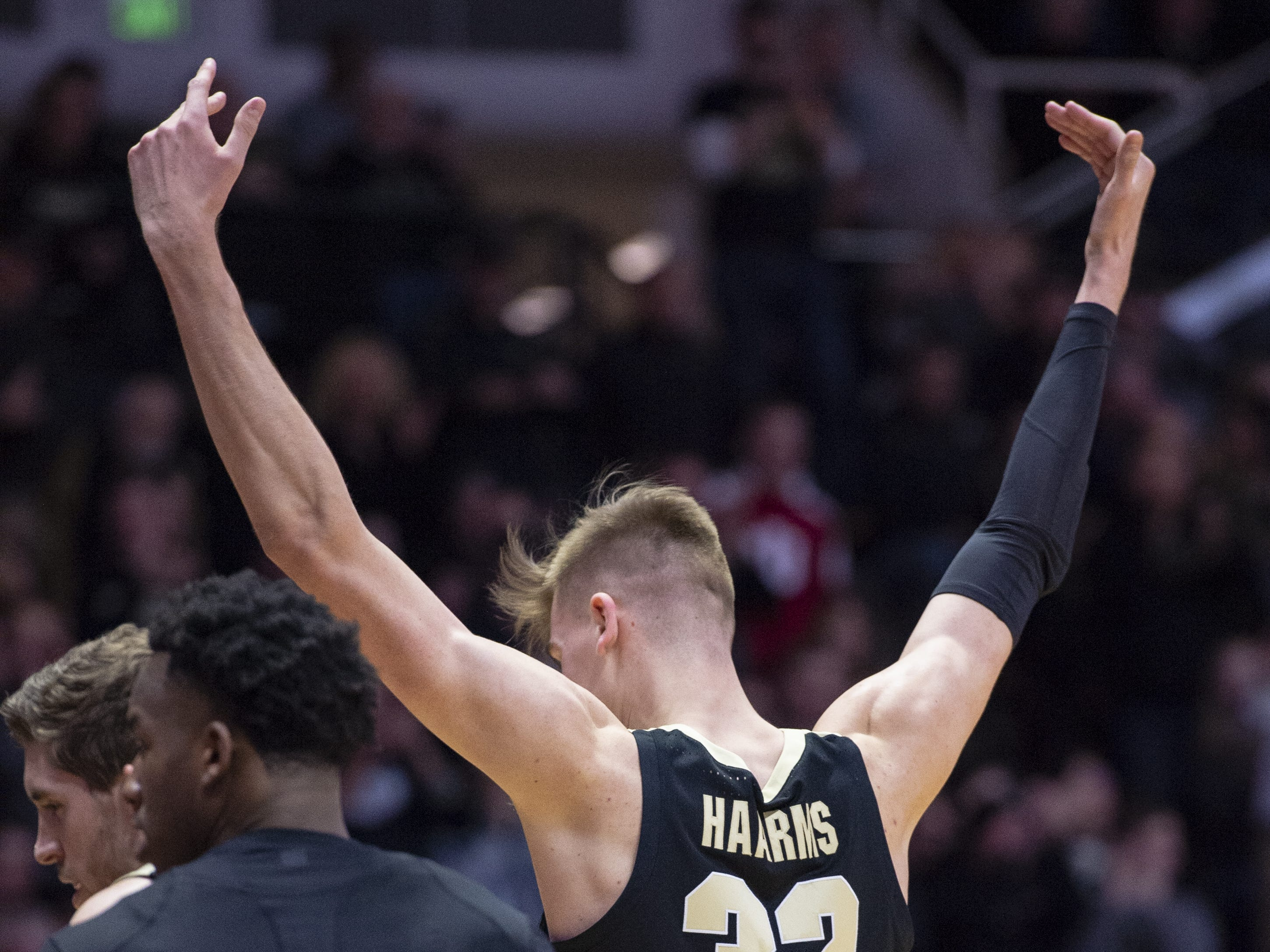 Purdue Boilermakers center Matt Haarms (32) reacts to the team extending its lead over Indiana.